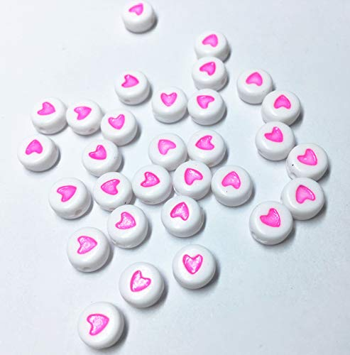 (Acrylic Beads Colorful White Alphabet Colorful Heart Oblate Round Beads for Bracelets and Jewelry Making (4mm x 7mm, 400 PCs))