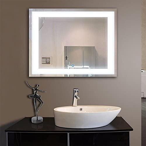DECORAPORT 36 Inch 28 Inch Horizontal LED Wall Mounted Lighted Vanity Bathroom Silvered Mirror Large Cosmetic Mirror with Touch Button A-CK010-I