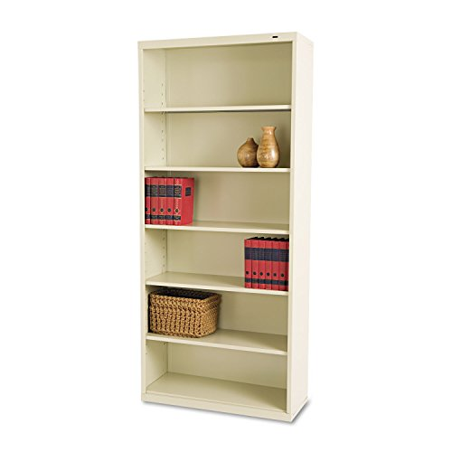 Tennsco B78PY 34-1/2 by 13-1/2 by 78-Inch Metal Bookcase with 6 Shelves, Putty (Shelf 6 Bookcase Metal)
