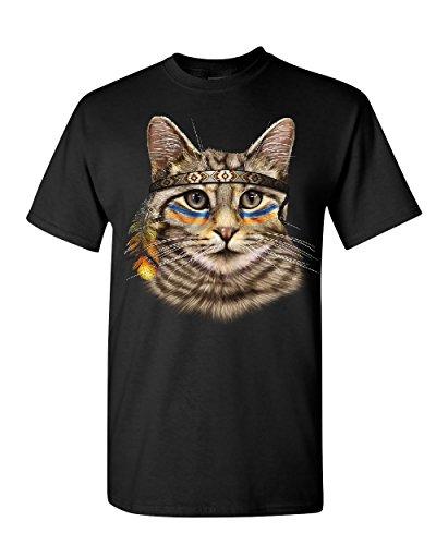 Lover T-shirt Tee (Native American Chief Cat T-Shirt Cat Lovers Kitten Headdress Mens Tee Shirt Black 2XL)
