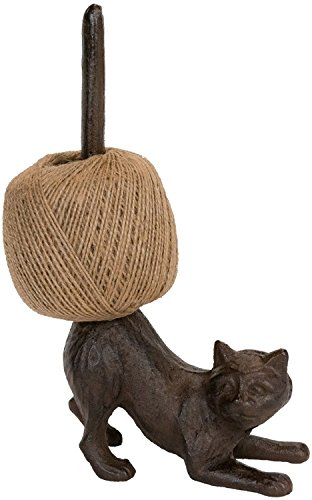 Antique Finish, Decorative Cast Iron Cat Bathroom Tissue Holder Toilet Paper Roll Holder Yarn Stand ()