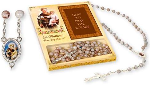 CATHOLIC PRAYER ROSARY DARK WOOD BEADS MARY LOURDES MEDAL /& CRUCIFIX BOOKLET