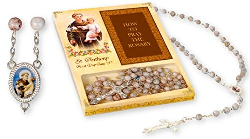 Saint Anthony Rosary Beads and How to Pray The Rosary Booklet, St Anthony Catholic Gifts & Lourdes Prayer Card
