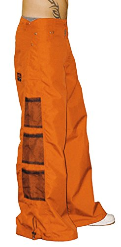 Pants Ufo (Amdesco Ghast Unisex Cargo Drawstring Wideleg Mesh Pocket Rave Dance Pants, Orange 30 Inch Waist)