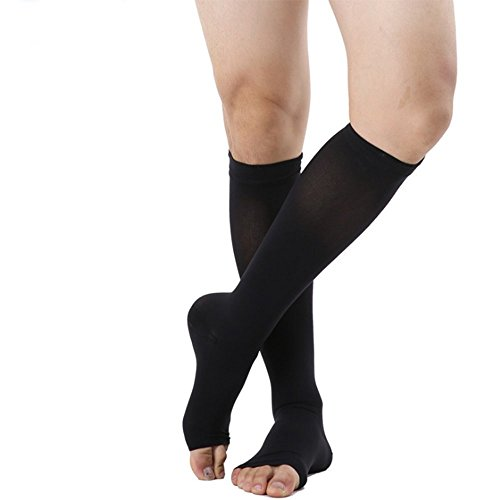 20-30mmHg Knee High Compression Socks Medical-Open Toe Women&Men Black,Beige S,M,L,XL by Xinkai