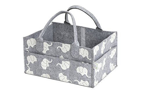 CozyCaddy Grey Diaper Caddy | Store Clothes, Teething Toys and Baby Stuff | Baby Shower Gift | 14'' X 10'' X 7'' Larger Sturdy Bottom | Durable Felt (Grey) by CozyCaddy (Image #8)