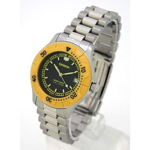 CARRERA Men's Swiss Silver-Tone Stainless Steel Interchangable Bracelet / Resin Strap Watch with Yellow Rotating Bezel. Model: - Watch Men Carrera