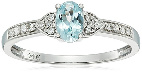 Gold Aquamarine Birthstone Ring - 6