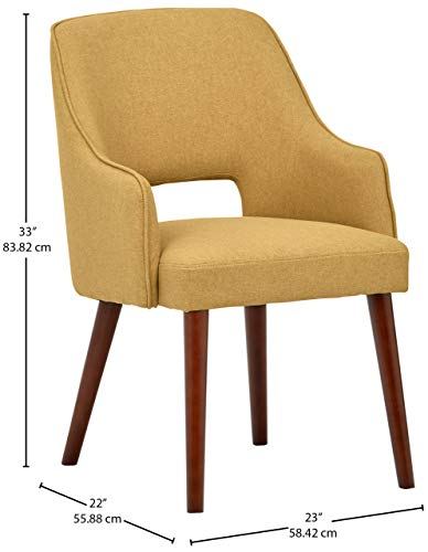 """Amazon Brand – Rivet Malida Mid-Century Modern Open Back Kitchen Dining Room Accent Chair, 22.8""""W, Canary - A cut-out back and tapered legs give this accent chair a classic mid-century modern design. Plenty of padding makes it sturdy and comfortable to use in the dining room or anywhere else extra seating is needed. 22.8""""W x 22.1""""D x 33.1""""H; Seat Height is 18.5"""" Fabric is 100% polyester. Hardwood legs with espresso finish. - kitchen-dining-room-furniture, kitchen-dining-room, kitchen-dining-room-chairs - 41LlSPN4lYL -"""