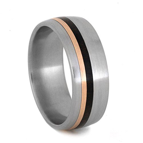 Ziricote Wood, 14k Rose Gold Pinstripes 8mm Comfort-Fit Brushed Titanium Band, Size 8.25 by The Men's Jewelry Store (Unisex Jewelry)