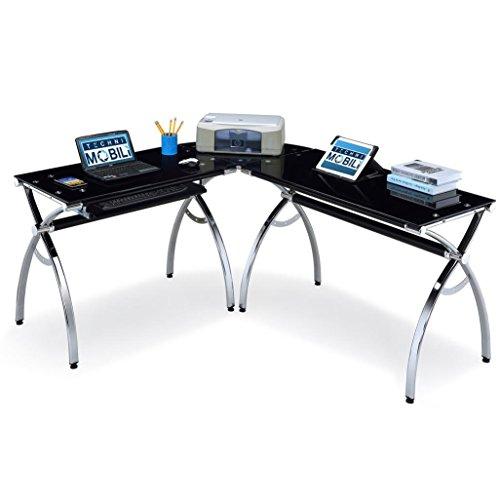 Techni Mobili Hip Black Glass Corner Computer Desk, Black, 60.75\