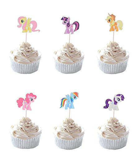 Party Hive 24pc MLP Pony Cupcake Toppers for Birthday Party Event Decor