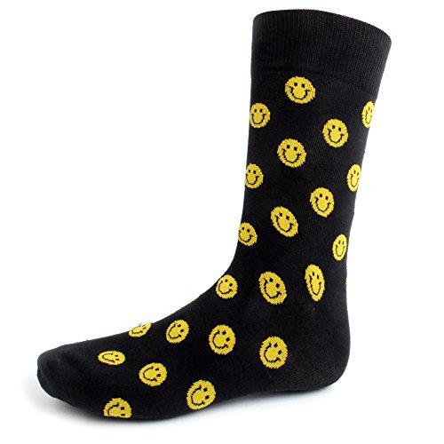 Men's Smiley Face Woven Crew Novelty Socks ()