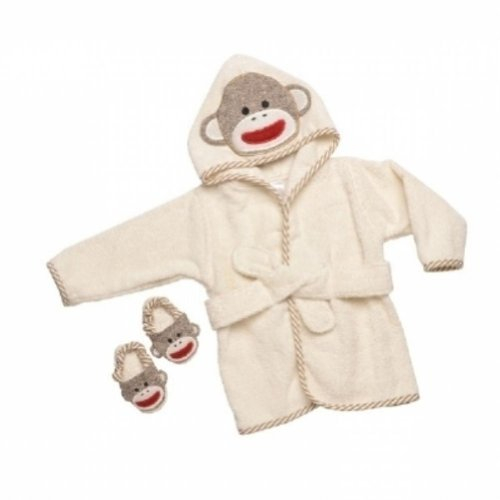 Baby Novelty Sock Sets - Sock Monkey Hooded Bath Robe Towel & Slipper Gift Set (0-9 Months) by Baby Starters
