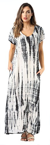 Riviera Sun Casual Short Sleeve Maxi Dress With Side Slit,Black / White,Medium