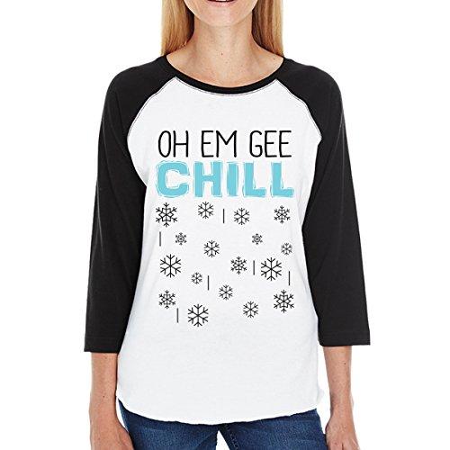 de Chill 365 para una Printing manga pieza Oh corta Em Snowflakes mujer Camiseta Gee de EwOwrS
