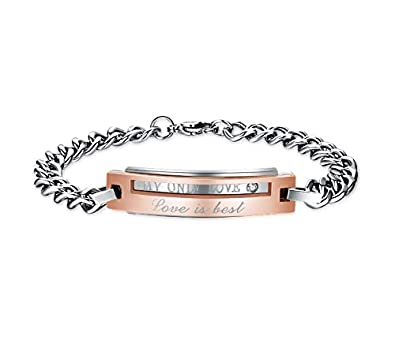 Bishilin Modeschmuck Edelstahl Armband Frauen Gravur