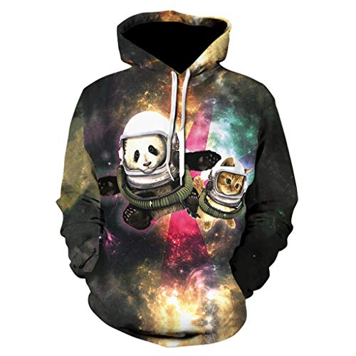 - Lazapa Men 3D Printed Crewneck Sweater with Cartoon Cosmic Cat Pattern Fashion Wild Hoodie Loose Casual Pullover Drawstring Tops Shirt