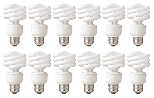 75 Watt CFL Spiral, 12 Pack, Cool White (4100K) Light Bulbs