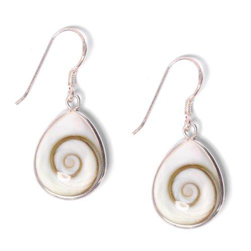81stgeneration Women's .925 Sterling Silver Teardrop White Shiva Eye Spiral Shell Dangle Earrings
