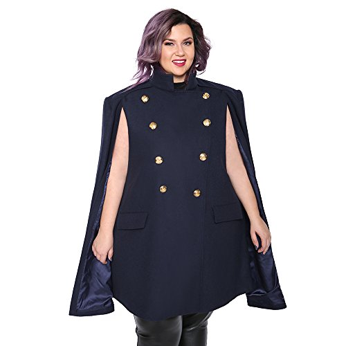 Astra Signature Women's Double Breasted Amelia Military Cape Coat Plus Size Wool Blend Cloak Outwear (Navy Blue, (Double Breasted Cloak)
