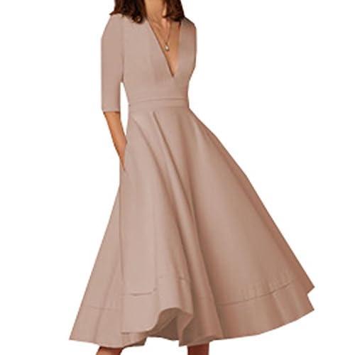 3ff825d31 Mujeres Beachwear Fiesta Profundo V Cuello Alta Cintura Vintage Swing  Vestido de Midi Elegante Vestidos de