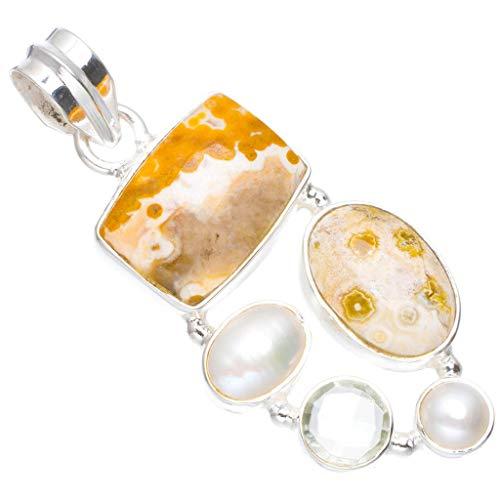 (Natural Ocean Jasper,River Pearl and Green Amethyst 925 Sterling Silver Pendant 1.75