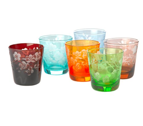 Glasses, Tumblers, Double Old Fashion, DOF, Barware, Drinkware, Gift Set of 6, Colors by Pols Potten