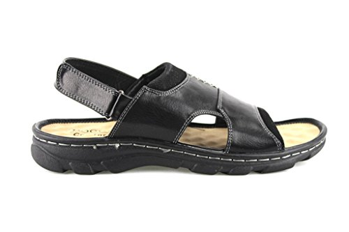Rocus Mens Jf5-45 Comfort Open Toe Sandali Scarpe Nere