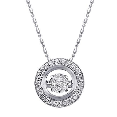 Diamond Gold Necklace White - Olivia Paris Dancing Diamond Necklace Set in 14k White Gold 3/4 Carats ctw (H-I, I1), 18