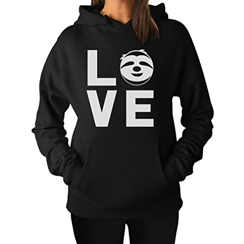 TeeStars - Love Sloths - Lazy Sloth Smiling Face - Animal Lovers Women Hoodie XX-Large Black
