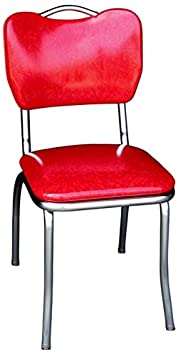 Richardson Seating Handle Back Chrome Diner Chair with 1 Pulled Seat, Cracked Ice Red