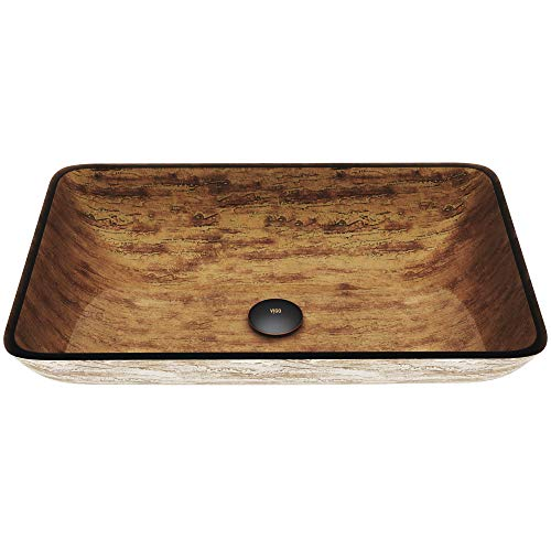 (Rectangular Brown and Gold Fusion Glass Vessel Bathroom Sink Finish: Amber Sunset)