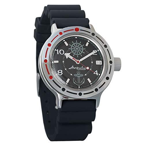 Watch Resin Case Dive (Vostok Amphibian Automatic Mens Wristwatch Self-Winding Military Diver Amphibia Case Wrist Watch #420526 (Resin))