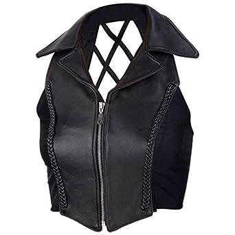 Chaleco Piel Chaqueta Moto Biker Mujer con Cuello Custom Vest Top L negro: Amazon.es: Juguetes y juegos
