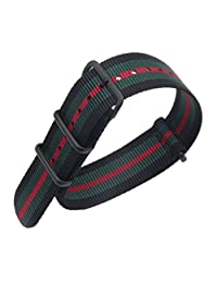 20mm Black/Green/Red Luxury Exquisite Men's one-piece NATO style Nylon Perlon Watch Bands Straps Textile