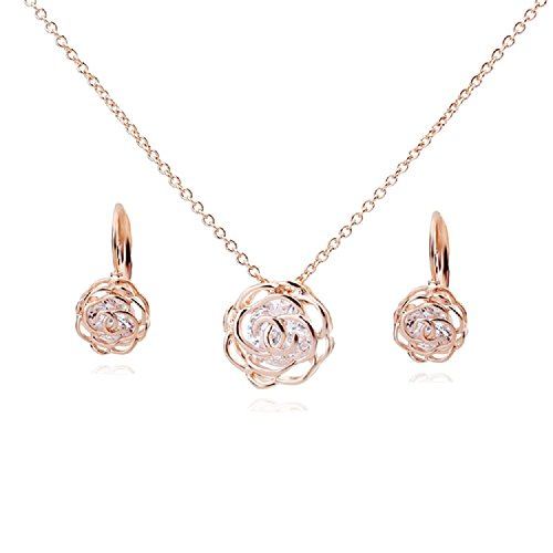 Flowers Roses Crystals from Swarovski Set Pendant Necklace 18