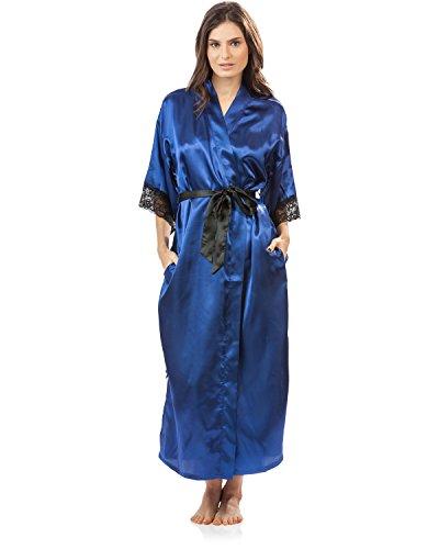 Ashford & Brooks Women's Satin Lace Trim Long Kimono Robe - Royal Blue - X-Large