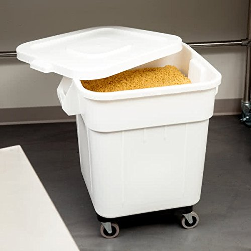 TableTop King 9332 32 Gallon White Mobile Ingredient Storage Bin with Lid by TableTop King