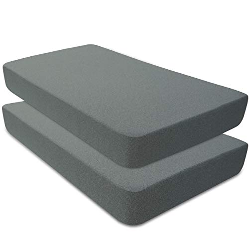 BlueSnail Waterproof Crib Mattress Cover for Standard Crib and Toddler Mattresses (2 Pack,Heather Gray)