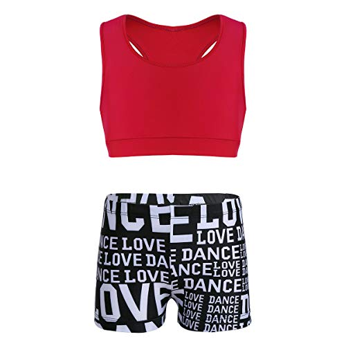 MSemis Girls' Kids 2-Piece Sport Dance Outfit Crop Top with Booty Shorts Gymnastics Leotard Dancing Swimwear Red & Black 3-4