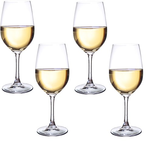 Circleware Uptown Glass Wine Glasses, Set of 4, Drinking Glassware for Water, Juice, Beer, Liquor and Best Selling Kitchen & Home Decor Bar Dining Beverage Gifts, 15.75 oz, Clear