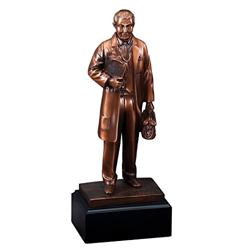 Customizable 11-1/2 Inch Male Doctor Antique Bronze Electroplated Trophy, Includes Personalization - Engravable Bronze Antique