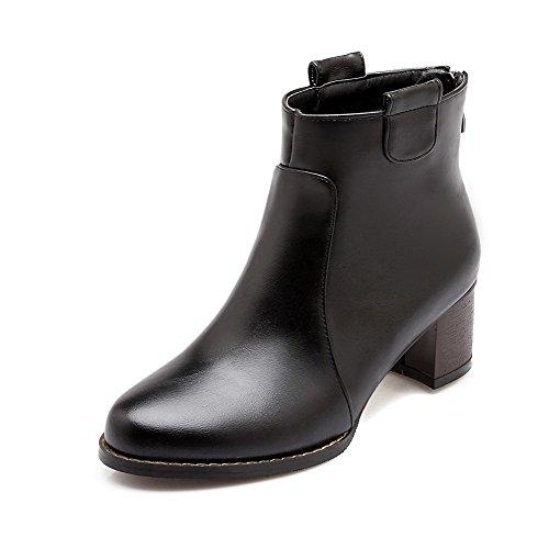 Allhqfashion Women's Zipper Blend Materials Round Closed Toe Solid Boots Black fTvp7