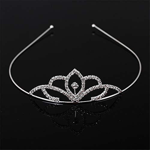 USHOT Pearl Bridal Queen Crowns Handmade Tiara Headband Crystal Wedding Hair Jewelry -