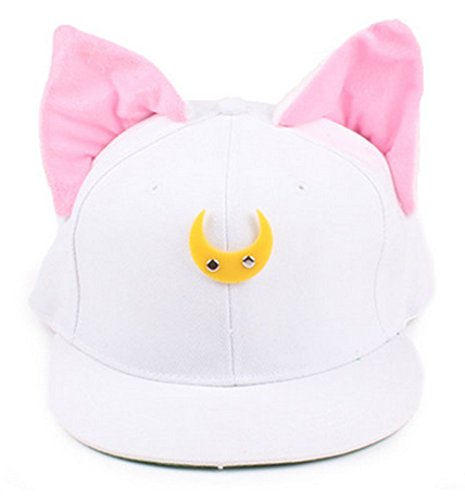 Sailor Moon Costume Man (Cosplay Anime Sailor Moon Luna Cat Ears Hat Adjustable Baseball Cap (white))