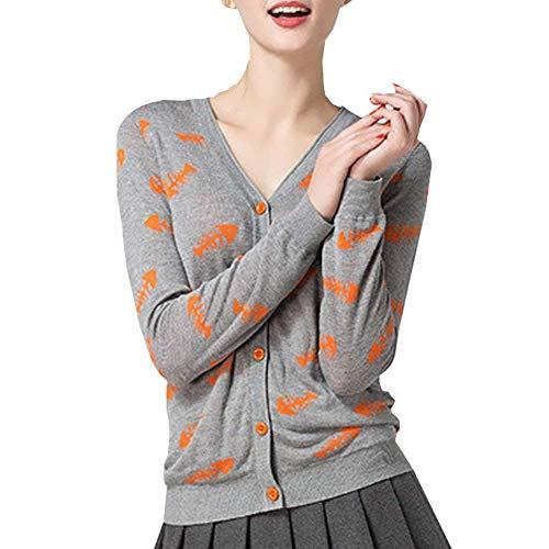 Lunga Outerwear Manica Unique Fit Pattern Breasted Moda Giovane Slim Maglioni Donna Pullover neck Autunno Single Giaccone Casual V Stampate Stlie qHw80PP
