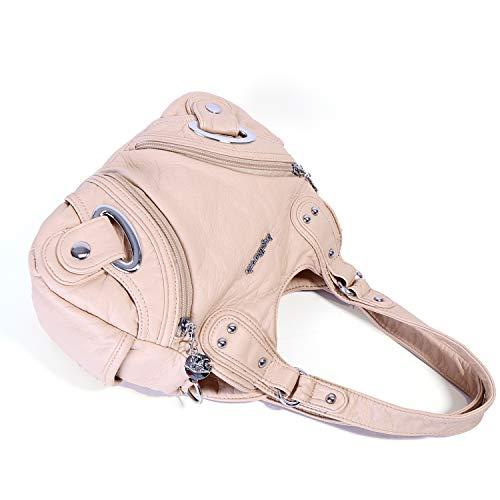 158 Street Satchel PU Pockets Handle Hobo Shoulder Bag Xs160906 Fashion Women Bag Top beige Handbag Multiple Bag Roomy Tote Ladies' FUYXXOq