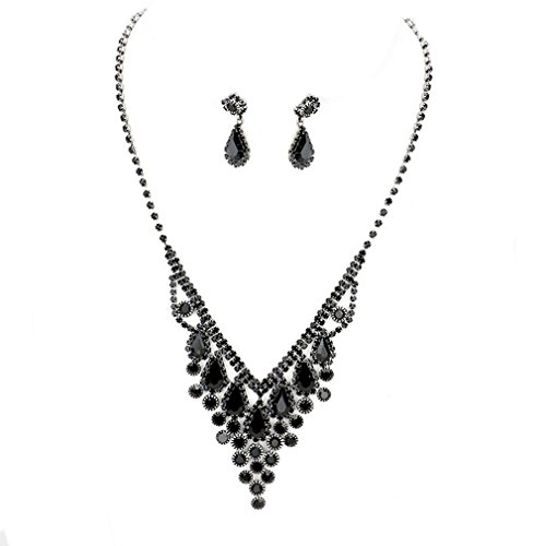 Christina Collection Women Bib Jewelry Statement Cluster Rhinestone Crystal fringe Jewelry Set Earrings Necklace Prom Bride Pageant (Black) (Necklace Bib Drop)