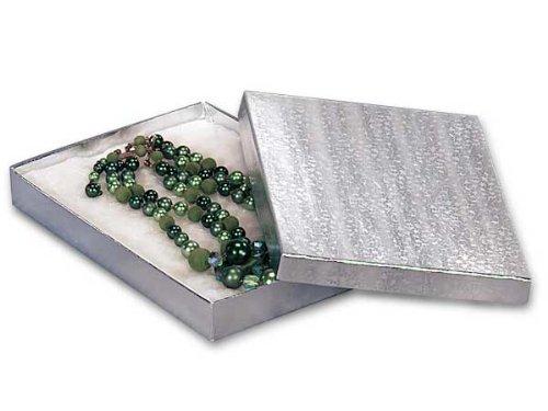 7x5x1-1/4 Silver Foil Jewelry Box w/ Non-tarnish Cotton (Unit Pack - 100)